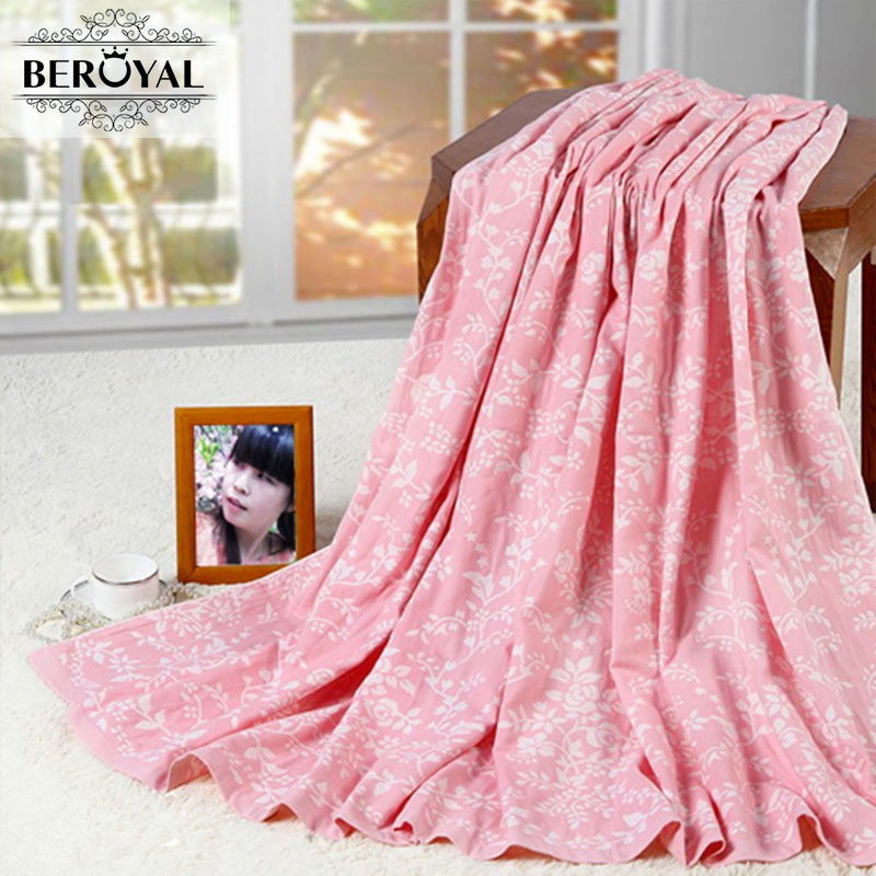 Beroyal Brand 2017 High Quality Throw Blanket -Cotton Blanket on Bed/Sofa Travel Blankets Soft Floral Brand Blanket 180*220cm  free shipping h letter blanket brand designer home blankets wool cashmere car travel portable blankets throw bed 158x138cm size