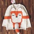 Menina roupa do bebê Estéreo BBK Leão e a Raposa de malha camisola meninos Animais Bonitos Blusas de algodão Do Bebê Meninas Cardigan Crianças casaco