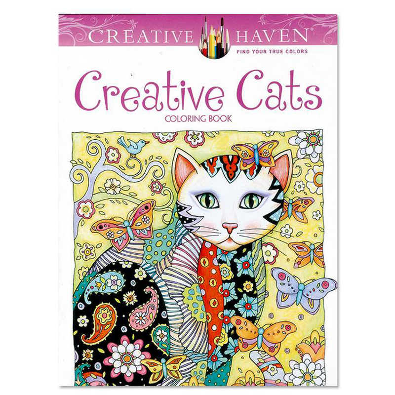 Creative Haven Creative Cats Coloring Books For Adults 24pages Stress Relieving Antistress Coloring Book Adult Coloring Books(China)