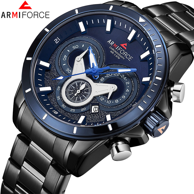 ARMIFORCE TOP Luxury Brand Men Sports Quartz Watch Men's Stainless Steel Chronograph Wristwatches Male Date Clock Drop Shipping