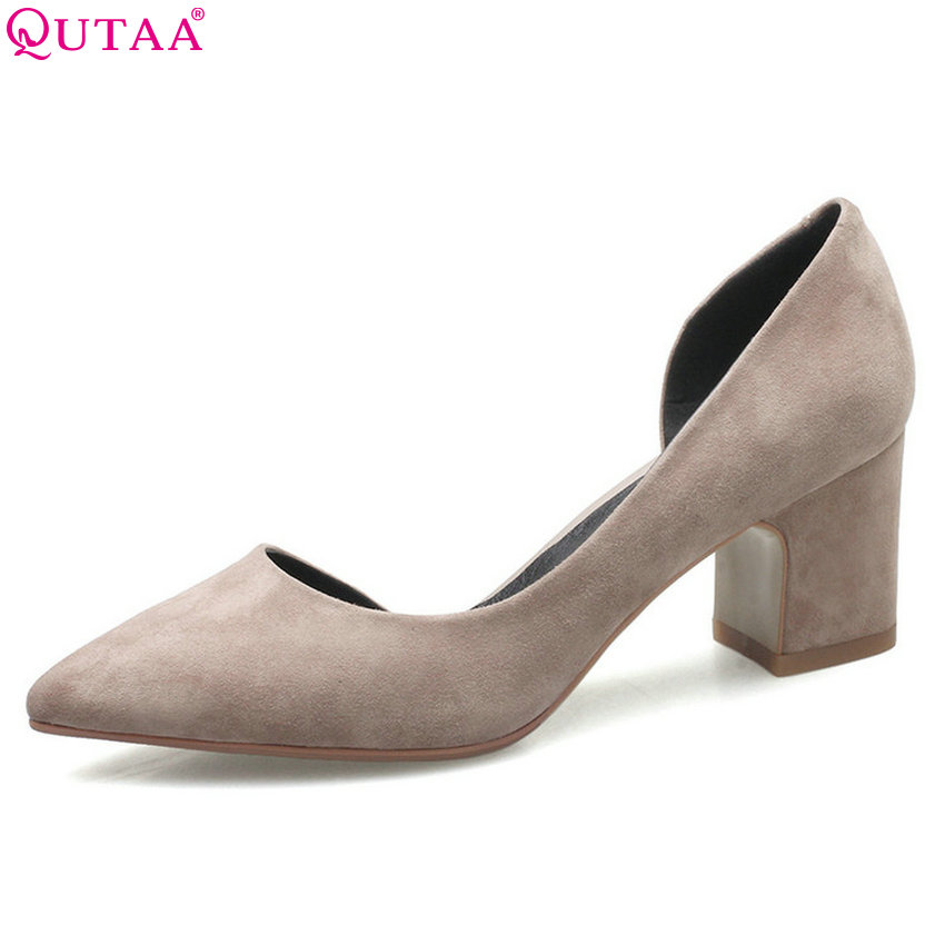 QUTAA 2018 Women Pumps Pointed Toe Women Shoes Slip on Square High Heel All Match Casual High Quality Wedding Shoes Size 34-39 sequined high heel stilettos wedding bridal pumps shoes womens pointed toe 12cm high heel slip on sequins wedding shoes pumps