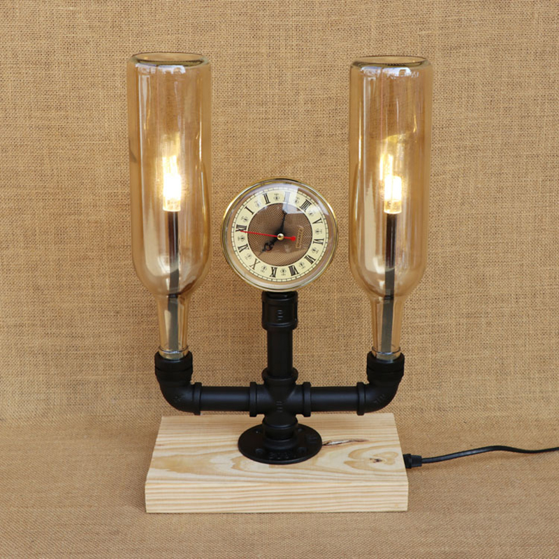 Современные 2 Бутылочки абажуры 220 В стол свет винтажные часы настольные лампы включают G4 лампы для спальни прикроватные office гостиная