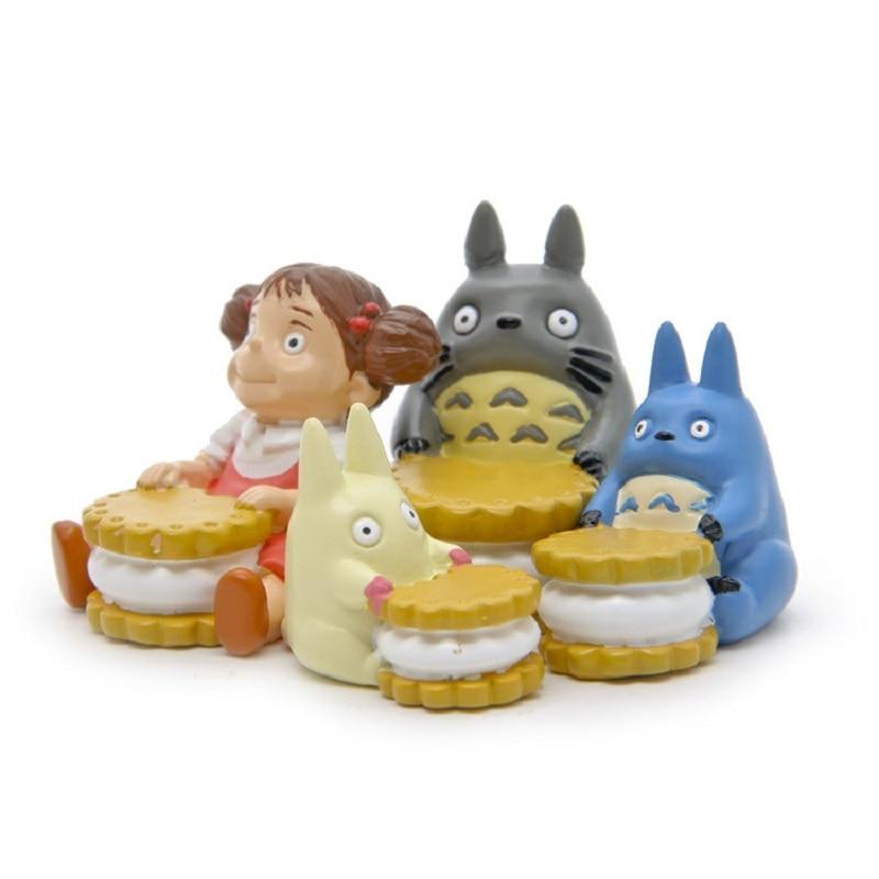 4pcs/lot Studio Ghibli Miyazaki Hayao Totoro Food Group Jicha Blue Totoro May Creative PVC Action Figure Toy Kid Christmas Gifts
