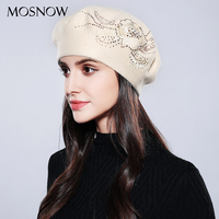 MOSNOW Bonnet Femme Women Beret Cotton Wool Brand New Knitted Fashion Flower Autumn 2017 Winter Hats