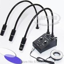 110 V-240 V 2 белый и 1 УФ светодиодный двойной goosene& 80 светодиодный кольцевой светильник осветитель источник света для промышленности стерео микроскоп объектив Камера