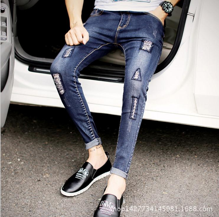 Top Quality 2020 Spring Autumn Casual Fashion Beggars Ripped Hole Denim Jeans Mens Pants Cowboy Teenagers Trousers Men 28-34