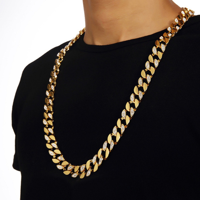 High Quality and Hip Hop Style Gold Finish  Iced Out Chain Men Jewelry Cuban Necklace For Party Anniversary Bijouterie