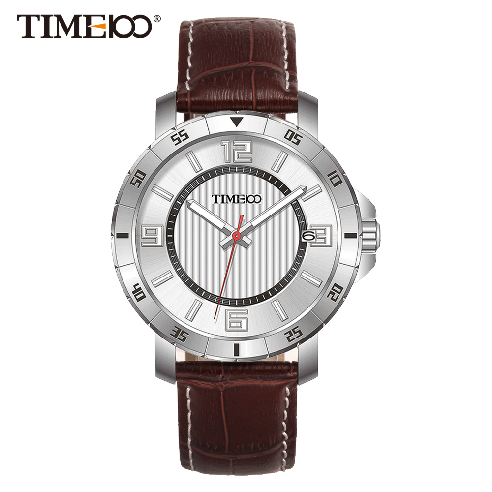 Time100 Men's Watches Brown Leather Strap Auto Date Quartz Watches Business Casual Wrist Watch For Men Clock relogios masculino
