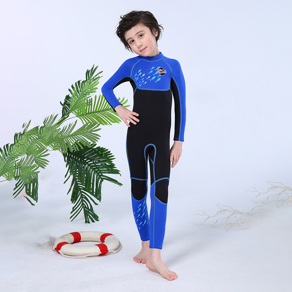 Kids Diving Suit 2.5MM Neoprene Wetsuit Children For Boys Girls Keep Warm One-piece Long Sleeves UV Protection Swimwear #4