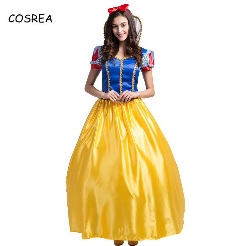 Snow White Long Evening Dress Headwear Dresses for Women Princess Dress Girls Floor Length Lantern Sleeve Cosplay Costumes