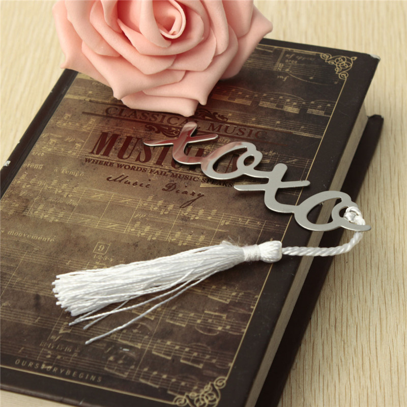 1PCs Vintage Stainless Steel XOXO Pattern Personalised Letter Bookmark With Tassel Silver Tone Exquisite Gift For Kids
