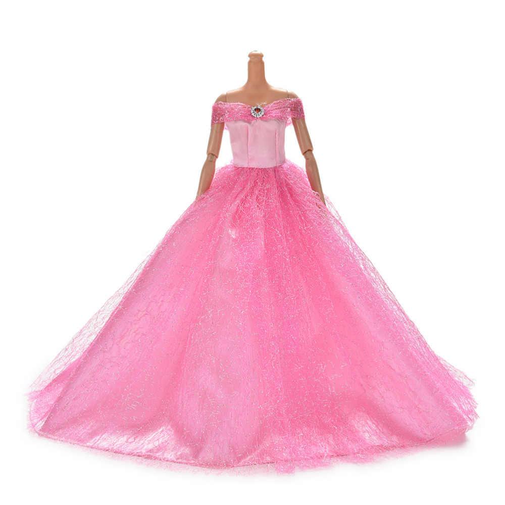 Горячая продажа 7 цветов в наличии высокое качество ручной работы свадебное платье принцессы элегантная одежда платье для куклы Барби платья