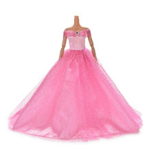 Hot Sale 7 Colors Available High Quality Handmake Wedding Princess Dress Elegant Clothing Gown For for Barbie Doll Dresses(China)