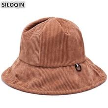 SILOQIN New Elegant Womens Bucket Hats Winter Corduroy Warm Ladies Cap Headwear Decoration Fashion Sun Visor Hat For Women