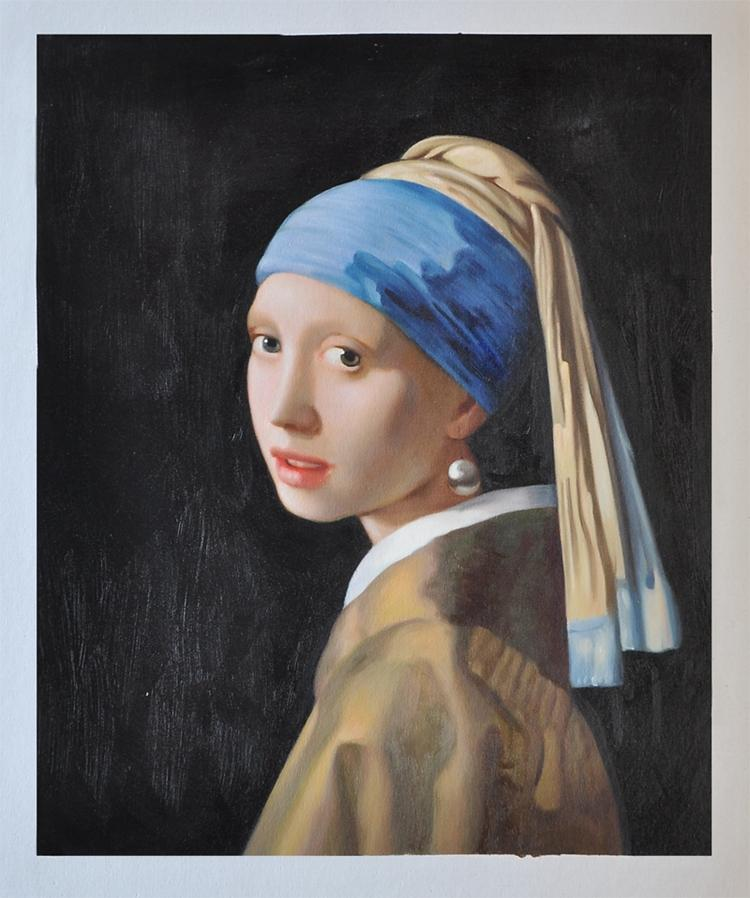 Hand painted netherlands famous artist johannes vermeer for Hand painted portraits from photos