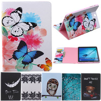 Butterfly Owl Cartoon PU Leather Flip Stand Cover Cases For Samsung Galaxy Tab S2 9 7