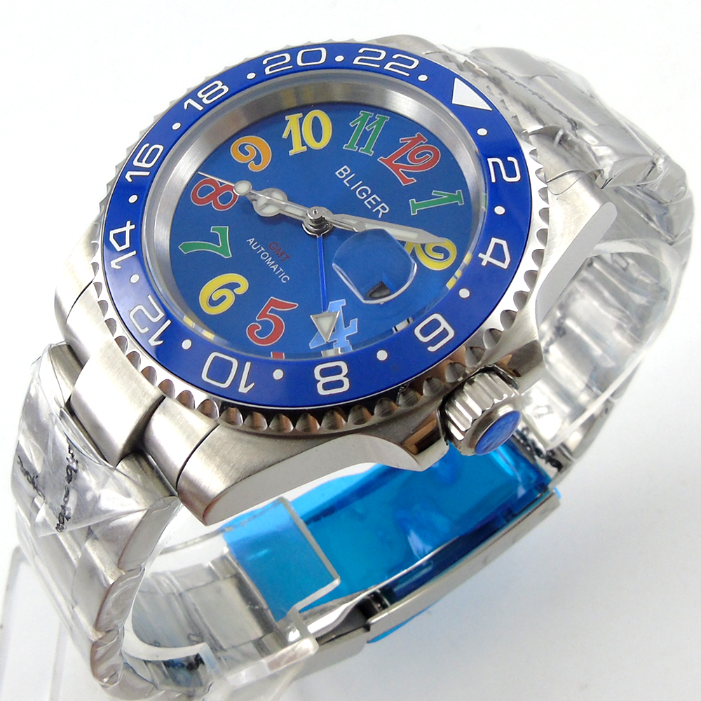 Bliger 40mm blue dial date colorful marks saphire glass blue Ceramic Bezel GMT Automatic movement Men's watch bliger 40mm gray dial date blue ceramics bezel stainless steel case saphire glass automatic movement men s watch