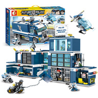 960pcs SD9816 Building Blocks City Series Mini Police Mobile Jail Model Toys for Children Compatible With Legoings City Police