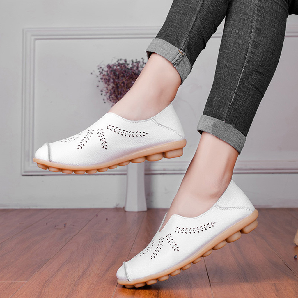 Leisure Women Round Toe Hollow Slip-On Shoes Flat Single Shoes Peas Boat Shoes Shoes Woman Zapatos De Mujer Sapato Feminino 6