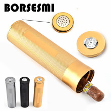 High quality single cigar tube case with hygrometer metal Cigar Holder tool smoking accessories Tobacco humidor humidifier 200mm