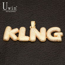 UIWN Name Necklace Gold For Men Customize Bubble Letter Pendant Silver Rose gold Color Commission Gift Jewelry Cuban Rope Chain