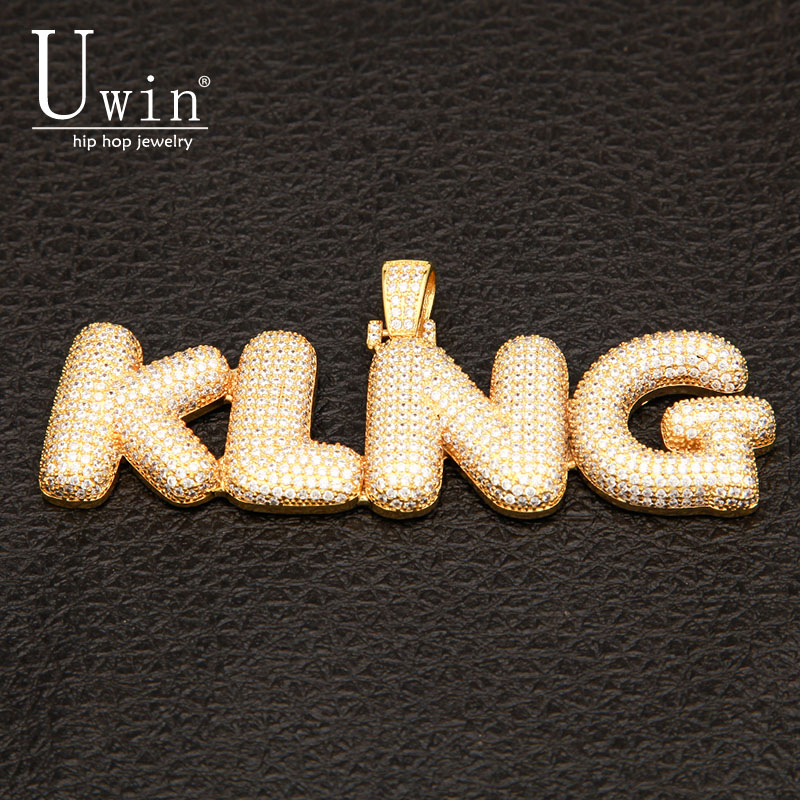 UIWN Name Necklace Gold For Men Customize Bubble Intial Letter Pendant Commission Gift Jewelry Cuban Rope Chain