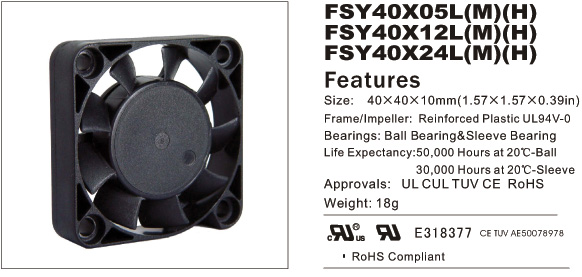 Купить с кэшбэком Free Shipping FONSONING Fan 4010 12V 0.05A 4500 DVR FSY40S12L Cooling fan