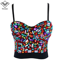 Wechery Women Colorful Stone Bra Tops Gothic Push Up Bra Corsage Sexy lingerie Bras Corset Hot Fashion Party Bra Club tops Wear