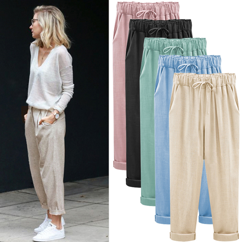Plus Size M 7XL Fashion Women Nine Points Pants Cotton linen New Casual Bundling Wide Waist