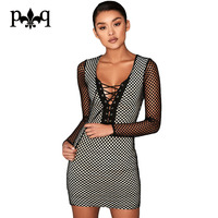 Hilove Women Summer Dress Sexy Long Sleeve Black Bodycon Club Dresses Lace Up Bandage Hollow Out Mesh Dress Women Vestidos