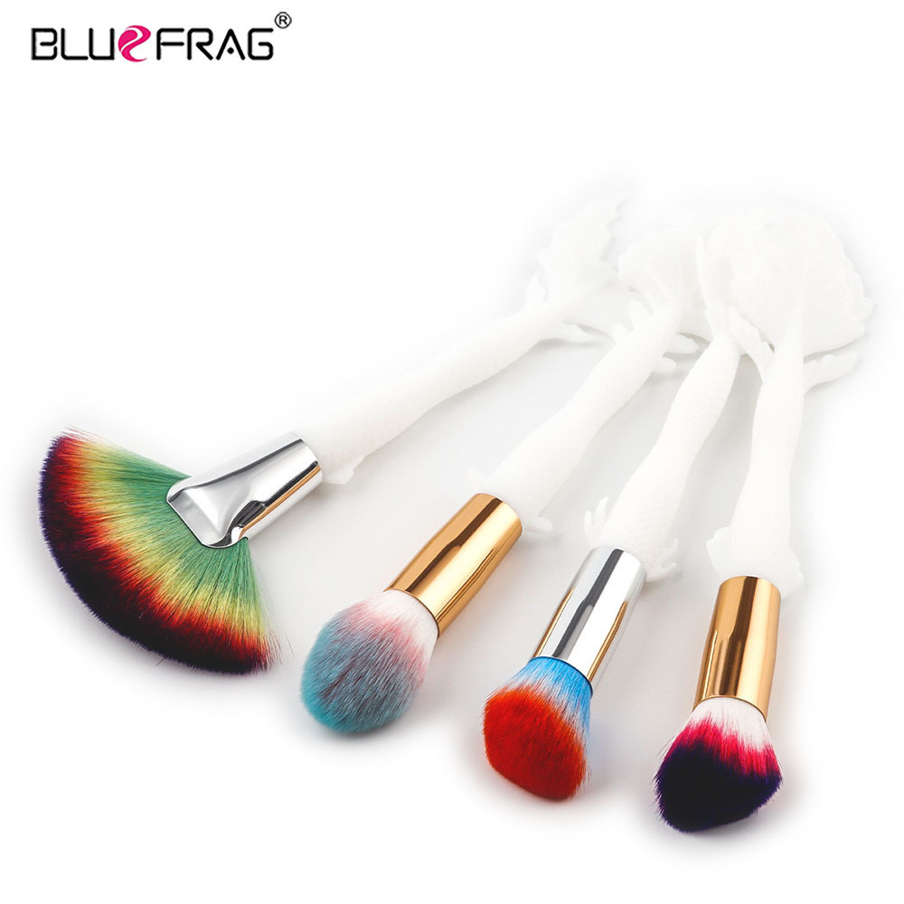 BLUEFRAG 2017 New 4pcs Makeup Brush set Ivory Mermaid Handle Design Colorful Super Soft Hair Foundation Powder Cosmetic Brushes bob cosmetic makeup powder w puff mirror ivory white 02