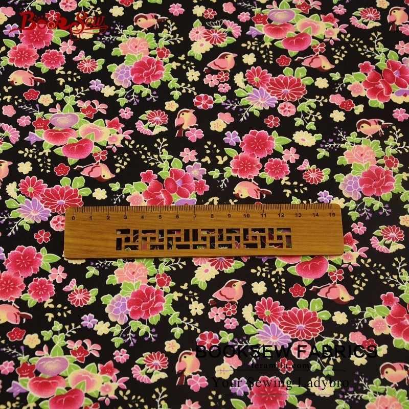 Booksew 100% Cotton Poplin Fabric Soft Sewing Black Fat Quarter Flower And Bird Pattern For DIY Crafts Clothing  Dress Shirt