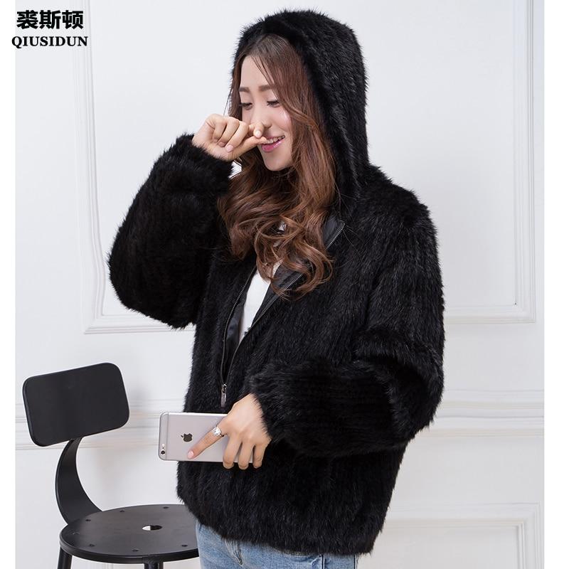 Πραγματικό μίνι πλεκτό παλτό Μοντέρνο γούνα παλτό με κινέζικο γούνα χειμώνα μπουφάν Γυναικείο παλτό γούνας με επένδυση με κουκούλα μαύρο παλτό