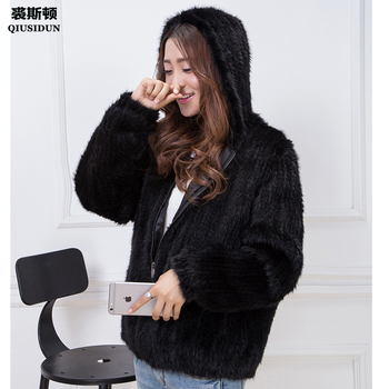 Real Mink Knitted Coat  Fashionable Fur With Chinese Winter Jacket Womens Lining Hooded Black