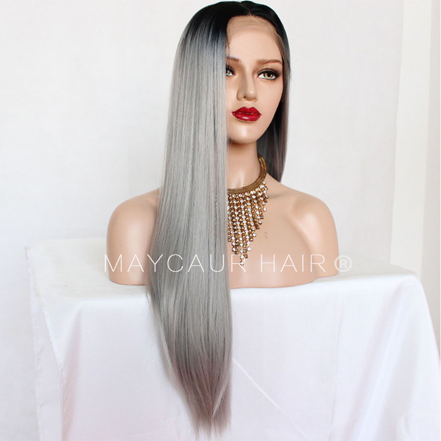 _0002_Maycaur 180 Density Gray Natural Straight  Synthetic Lace Front Wigs Black Grey Color Hair Natural Hairline (4)