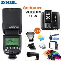 Godox V860II-N gn60 i-ttl hss 1/8000s speedlite flash com bateria li-ion + X1T-N flash transmissor para nikon d4s d5s d3 + 10 kit de presente