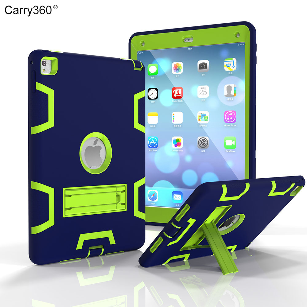 Carry360 For Apple iPad Pro 9.7  Heavy Duty Rugged Combo Back Cover case For Apple iPad 6 Air 2 Tablet Case With Kickstand case for apple ipad pro plus 12 9 tablet heavy duty rugged impact hybrid case kickstand protective cover for ipad pro 12 9