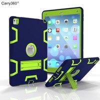 Carry360 Para Apple iPad Pro 9.7 Heavy Duty Robusto Combo Voltar tampa do caso Para Apple iPad 6 Ar 2 Caso Tablet Com Kickstand