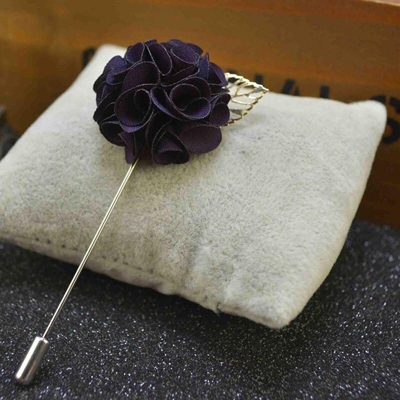 1 Pcs Handmade Vintage Mens Poppy Lapel Flower Pin Gold Leave