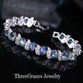 Moda jóias branco banhado a ouro micro pave cubic zirconia cz criado diamante ligado azul místico pulseiras femme br025