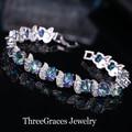 Moda joyería oro blanco plateado micro pave cubic zirconia cz creado diamond conectado azul místico pulseras femme br025