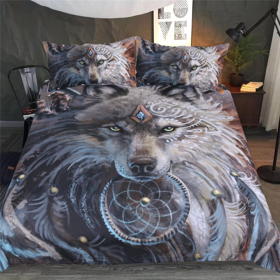 Duvet Cover European American Explosive Wolf Warrior 2/3pcs Family student dormitory Quilt cover pillowcaseDuvet Cover European American Explosive Wolf Warrior 2/3pcs Family student dormitory Quilt cover pillowcase