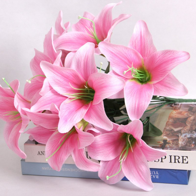 New 1 Bouquet 10 Heads Silk Flower European Artificial Lily Flowers Multicolor Fake Flowers For Wedding Home Party Decoration