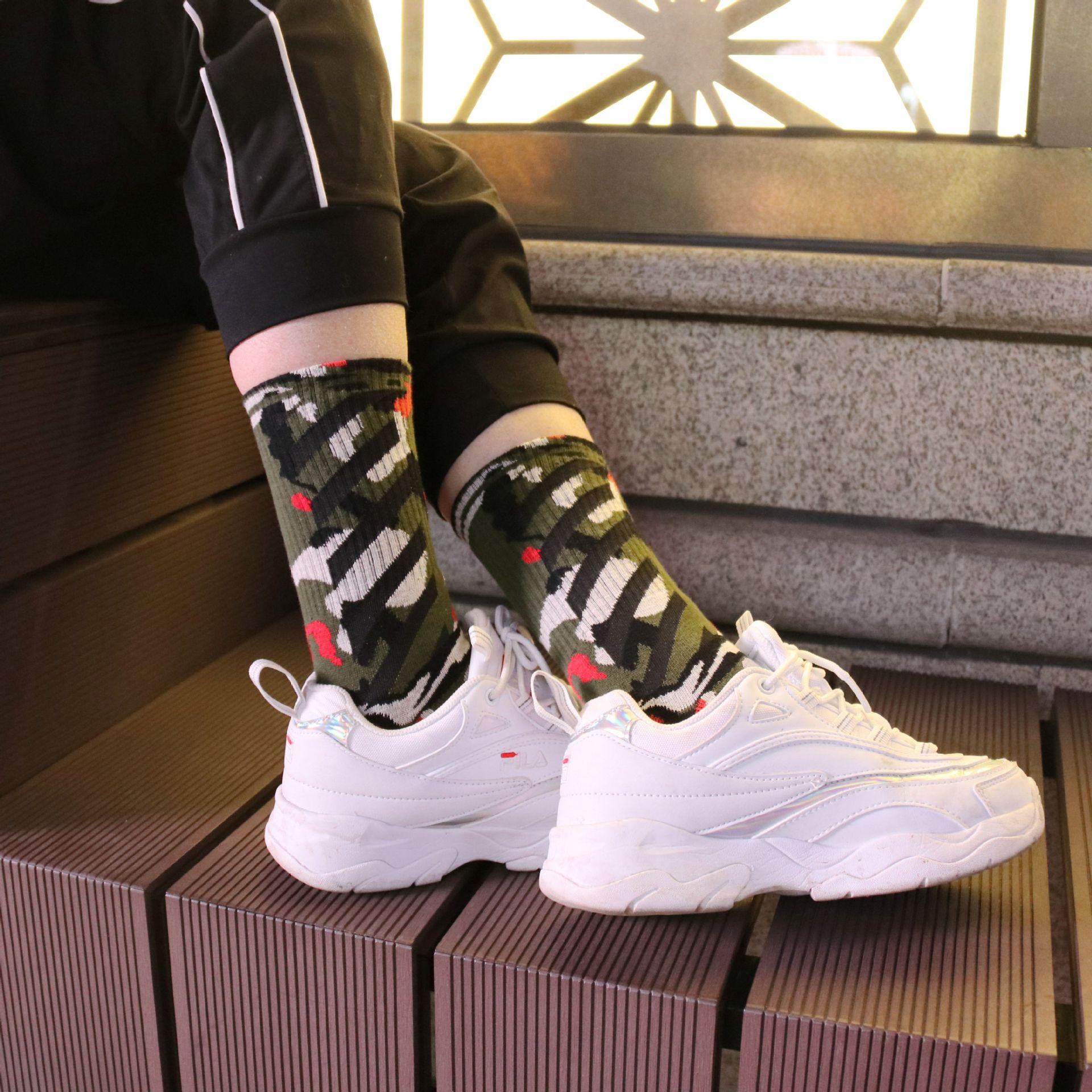 Men Women Cotton Camo Socks Skate Hip-hop Street Camouflage Slide Striped Cool Happy Socks Funky Cotton Harajuku Streetwear Sock