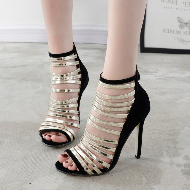 2017 Europe Super Star Elegant Female Shoes High Heels Cut-outs Rome Shoes Woman Pointed Toe Zipper Beautiful Sandals Size 40