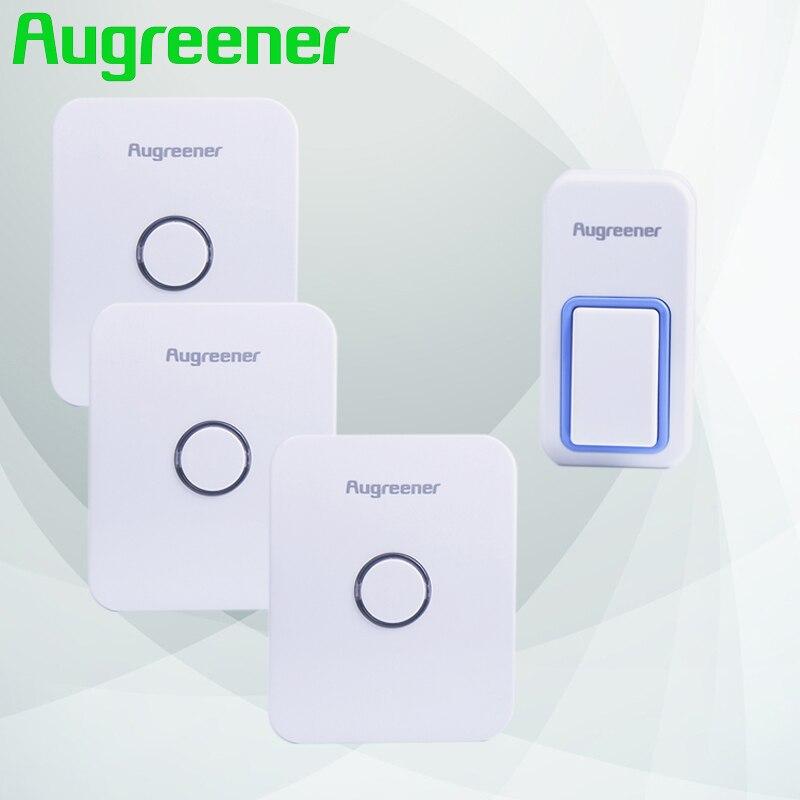 Augreener Wireless Home Tunes 1 Waterproof Push Button 3 Receivers Call for Doors Bell Door Wireless Free Shipping Doorbell club tunes 6