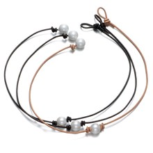 "2017 New Fashion Hot Styles Genuine Leather Choker Necklace Perfect Imitation Pearl choker Pearl Jewelry 14""15""16""17""(China)"