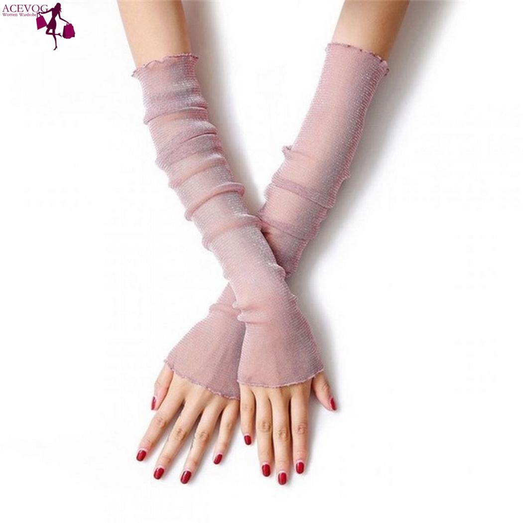 Women Fashion Arm Silk Ice Sleeves Breathable Outdoor Cool And Silk Anti-UV Ice Of Made See-Through Sleeve Breathable