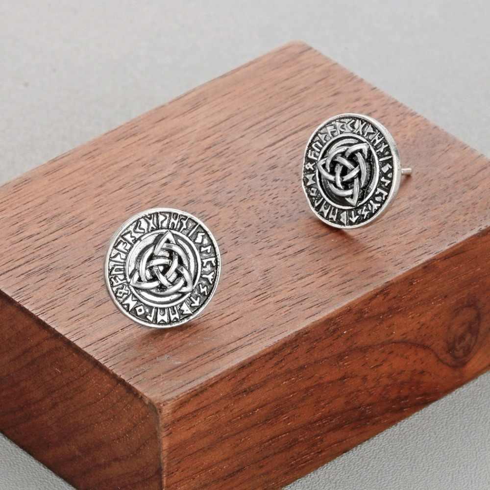 CHENGXUN славяне Викинги руны мужские серьги женский амулет старинное серебро бойфренд подарок символ Трикветр женские серьги-гвоздики