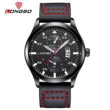 LONGBO Luxury Brand Men Genuine Leather Watch Men s Military Calendar Sports 3Bar Waterproof Wristwatch Relogio